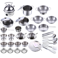 40Pcs Stainless Steel Children Kitchen Toys Miniature Cooking Set Simulation Tableware Toy Pretend Play Cook Toy