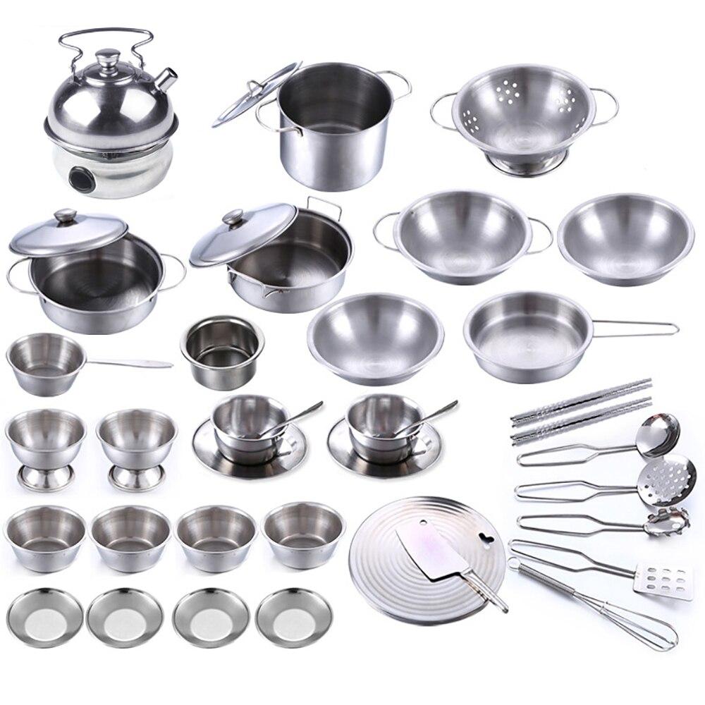40 Stücke Edelstahl Kinder Küche Spielzeug Miniatur Kochen Set ...