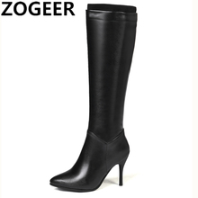 Classic Autumn Winter New Fashion Women Boots High Heels Knee High Boots PU leather Black White Zipper Ladies Shoes Woman