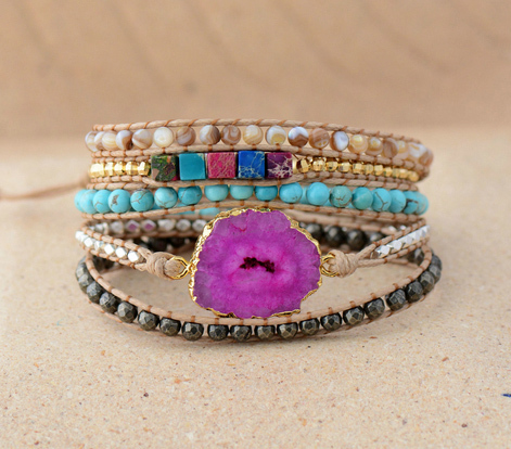 Drusy Brcelet Women Wrap Bracelet Mixed Natural Stones with Gilded Druzy 5 Strands Wrap Bracelets Boho Bracelet Dropship