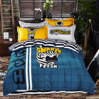 Cartoon Style Lovely Mermaid Duvet Cover Set Cotton Linens Twin Queen Size Kids Bedding Sets