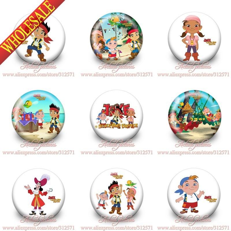Free shipping 90pcs 30mm Jake and Never Land Pirates Buttons Pins Badges Round Badges Party favor