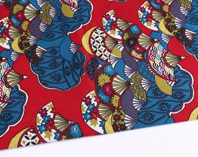 148CM*50CM Cherry Blossom Fan Cotton Linen Fabric Patchwork Fabric Patchwork  Linen Material Sewing Upholstery