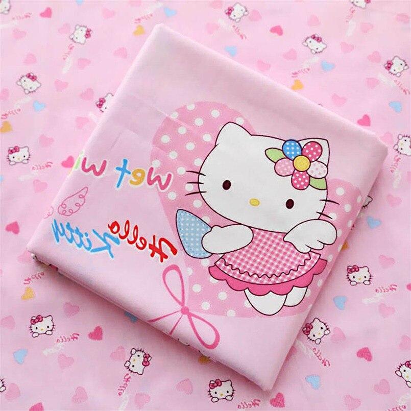 Kitty chat b b lit feuille tricot coton tissu m tre - Impression sur tissu maison ...