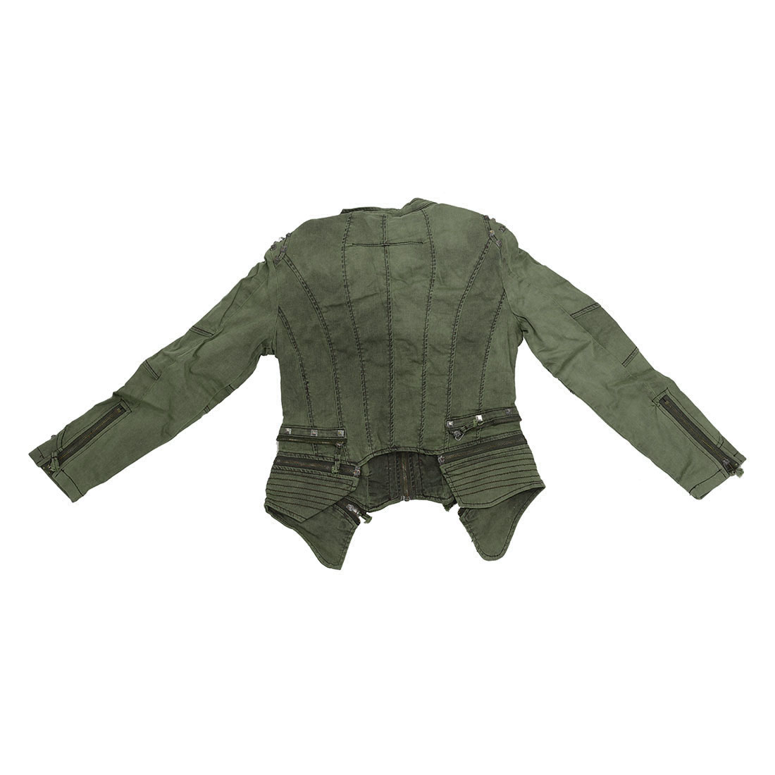 Women Denim Jacket Punk Style Rivet Studded Lapel Coat 5