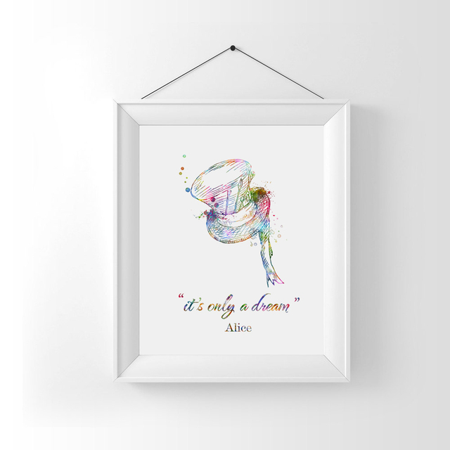 Alice In Wonderland Wall Art Nursery Decor It S Only A Dream Quotes Watercolor