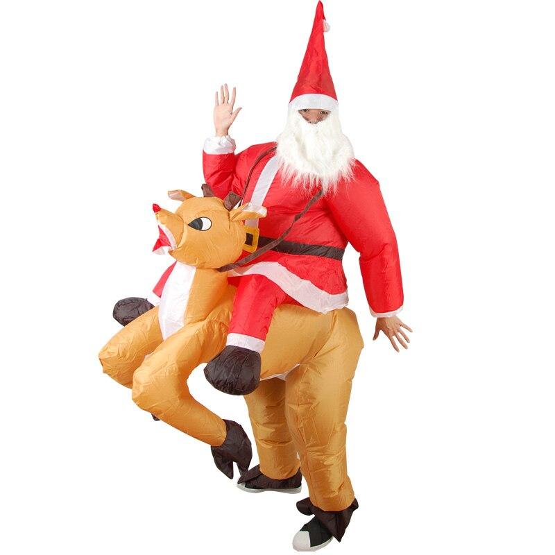 Cosplay gonflable Santa équitation fauve Costume pour adulte enfant Costume carnaval Halloween noël hommes/femmes ensemble complet