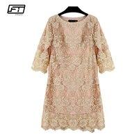 Fitaylor 2018 Summer Plus Szie 5xl Women Lace Dress Elegant Evening Party Sexy Vintage Dresses O Neck Embroidery Floral Dress