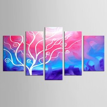 Printed Painting High Quality 5 Piece Pictures of Abstract Paintings Branches an Almond Tree in Blossom