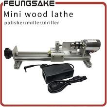 Mini Lathe Machine Polisher Table Saw for polishing Cutting DIY Wood Lathe,metal mini lathe/didactical DIY lathe ship by DHL