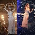 Роскошный полный раскаты бисера платья знаменитостей на концерт v-образным вырезом щели сторона высокое качество пола пром вечерние платья XY502