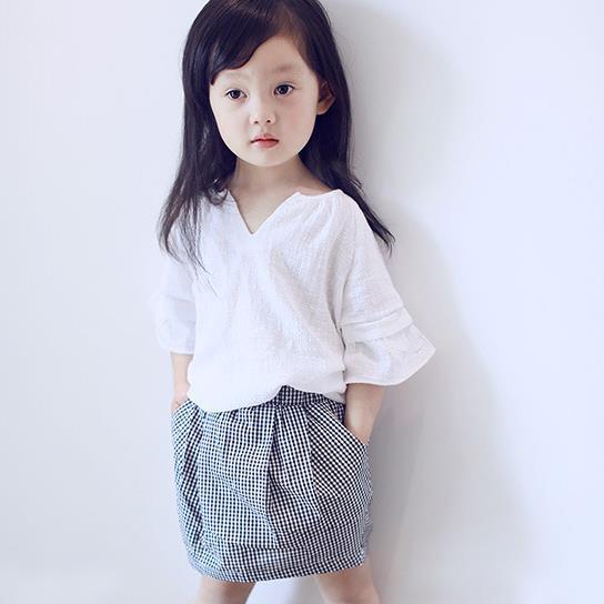 2018 toddler girls summer clothing set blouse+plaid skirt 2pcs girl clothes suit conjunt ...