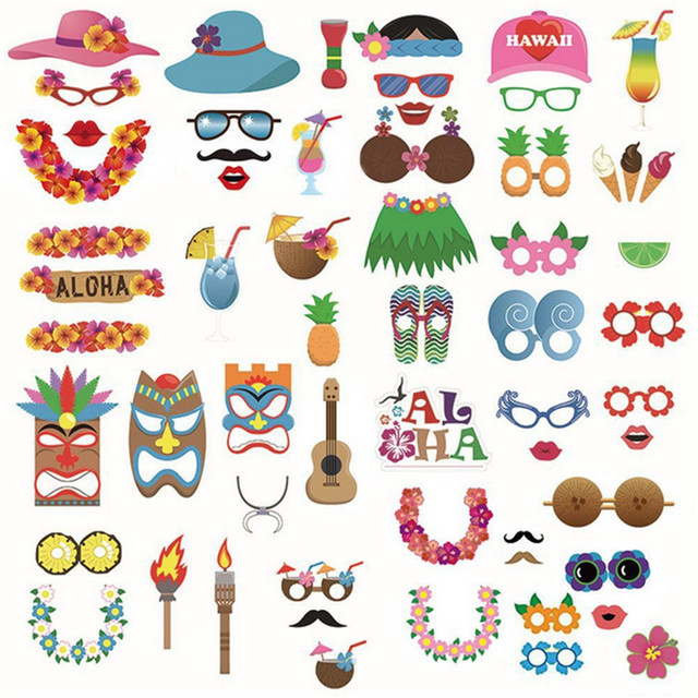 60 Pcs/set Hawaii Holiday Style Paper Mask Grass Skirt Coconut ...