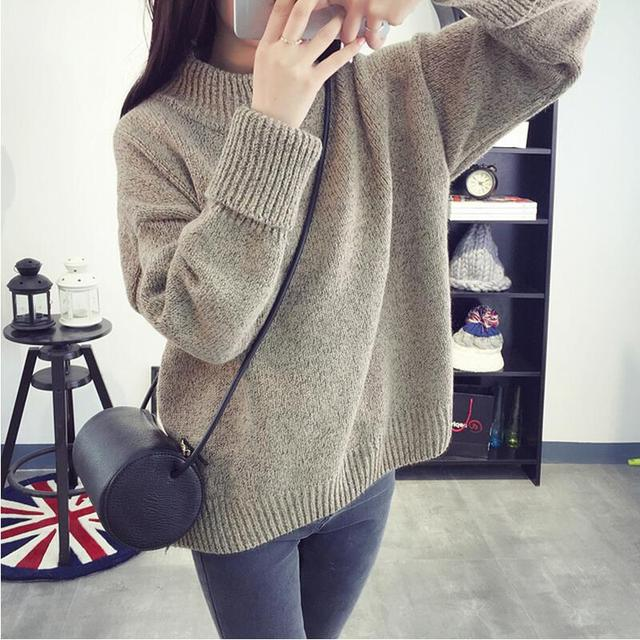 Women Sweaters and Pullovers Autumn New Fashion Long Sleeve Mock Neck  Knitted Loose Oversize Jumper Vintage Winter Sweaters 88eeaff87