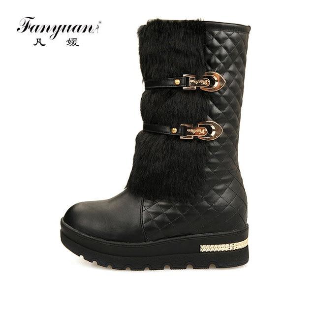 ad70a939f46 Fanyuan 2018 Women Knee High Boots Hidden Wedges Faux Rabbit Fur Upper  Platform Winter Fur Shoes Buckle Warm Snow Boots