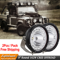 New Led Offroad lights 9 inch Round Led spot beam + Flood beam + DRL multi function led work lights 162W led truck light x2pcs