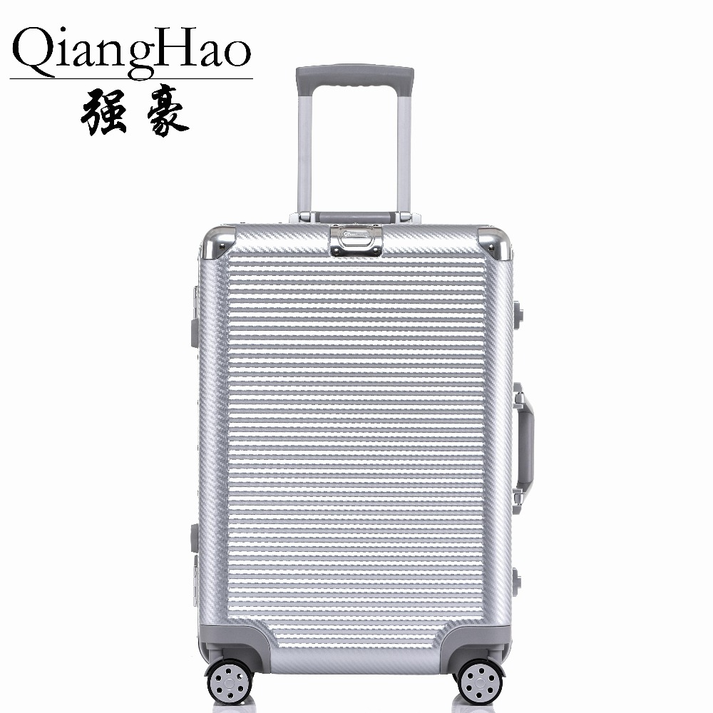 QiangHao 20 24 26 28 PC VS Aluminum Frame Travel Trolley Luggage Spinner Carry On Cabin