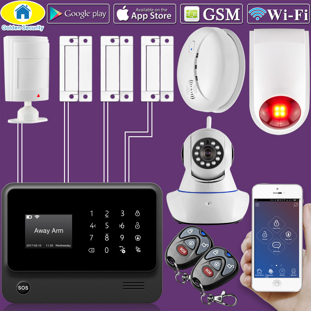 Golden Security G90B Plus WiFi GSM 2G Home Security Alarm System wireless wired zone Motion Sensor with Waterproof Strobe Siren fuers wifi gsm sms home alarm system security alarm new wireless pet friendly pir motion detector waterproof strobe siren