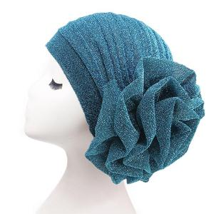 Image 3 - Мусульманская женская тюрбан, Шапка бини в индийском стиле, эластичная шапка с цветочным принтом в арабском стиле, головной платок, вязаная шапка, блестящий модный головной убор