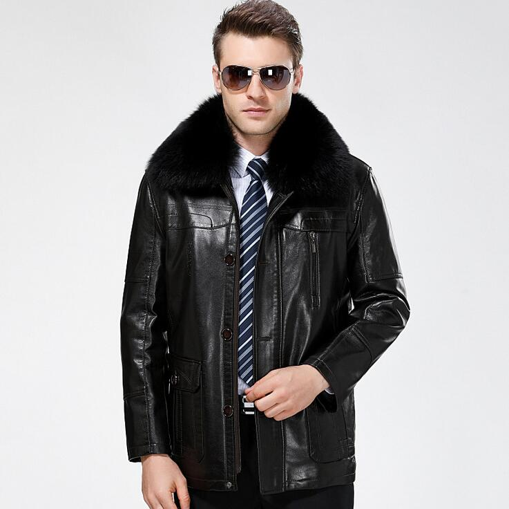 Hot mens Genuine Leather jackets coats mens leather clothes Winter New arrive Brand Lapel business casual leather jacket men