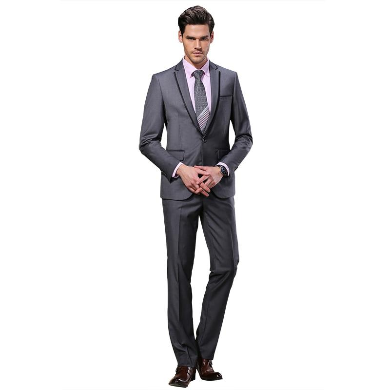 2019 DARO Mannen Past Slim Custom Fit Tuxedo Grijs pak en Broek Merk - Herenkleding - Foto 3