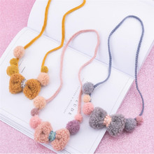 Korea Handmade Cute Cartoon Plush Bowknot ball Kids Children Girl Necklace Apparel Accessories-HZPRCGNL041F