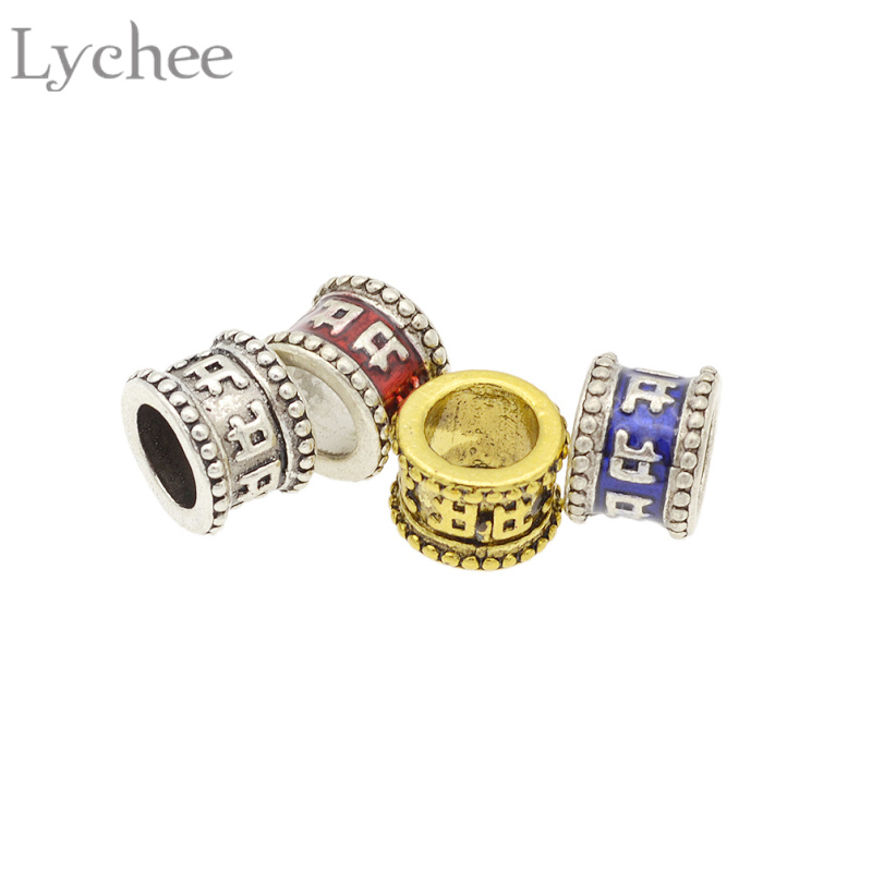 Lychee 4pcs/lot Punk 7mm Alloy Letter Om Mani Padme Hum Carved Hair Braid Dread Dreadlock Beads Cuffs Clips Headwear Accessories