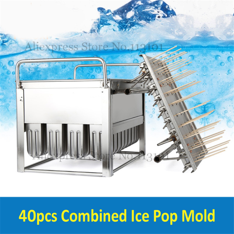 Commercial Ice Cream Mold Stainless Steel Ice Pop Molds 40pcs/Batch with Stick Holder Ice-lolly Maker