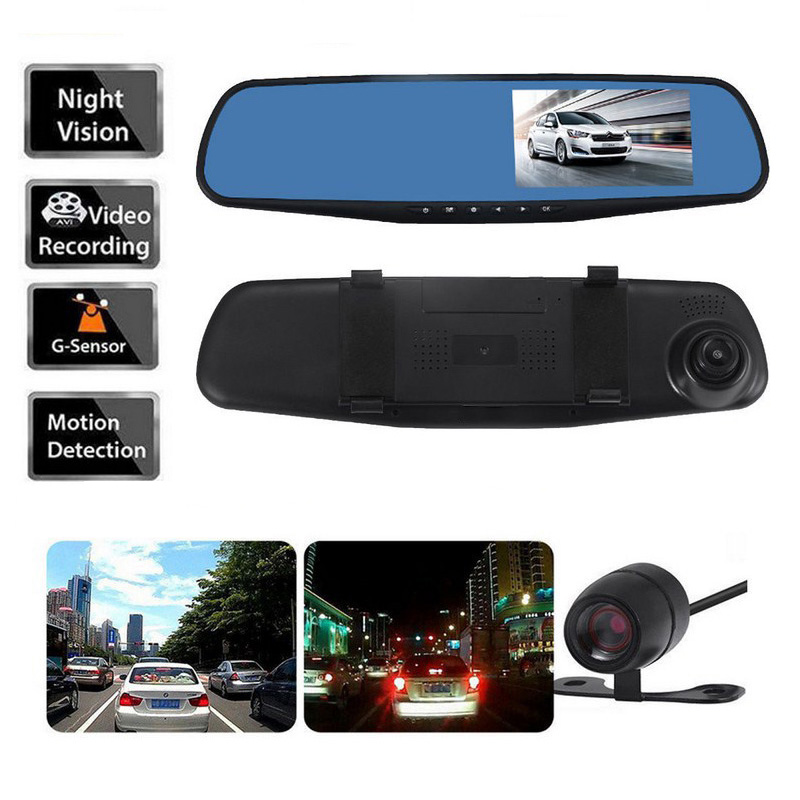 Image 1 - 1080P Dual Lens Car DVR Mirror 170 Degree 4.3 Inch Car Dash Came Auto Driving Video Recorder Camera Vehicle Dash Cam-in DVR/Dash Camera from Automobiles & Motorcycles