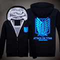 Attack on Titan Luminous Thick Coats Hoodies Sweatshirts Zipper Jacket  Winter  Black
