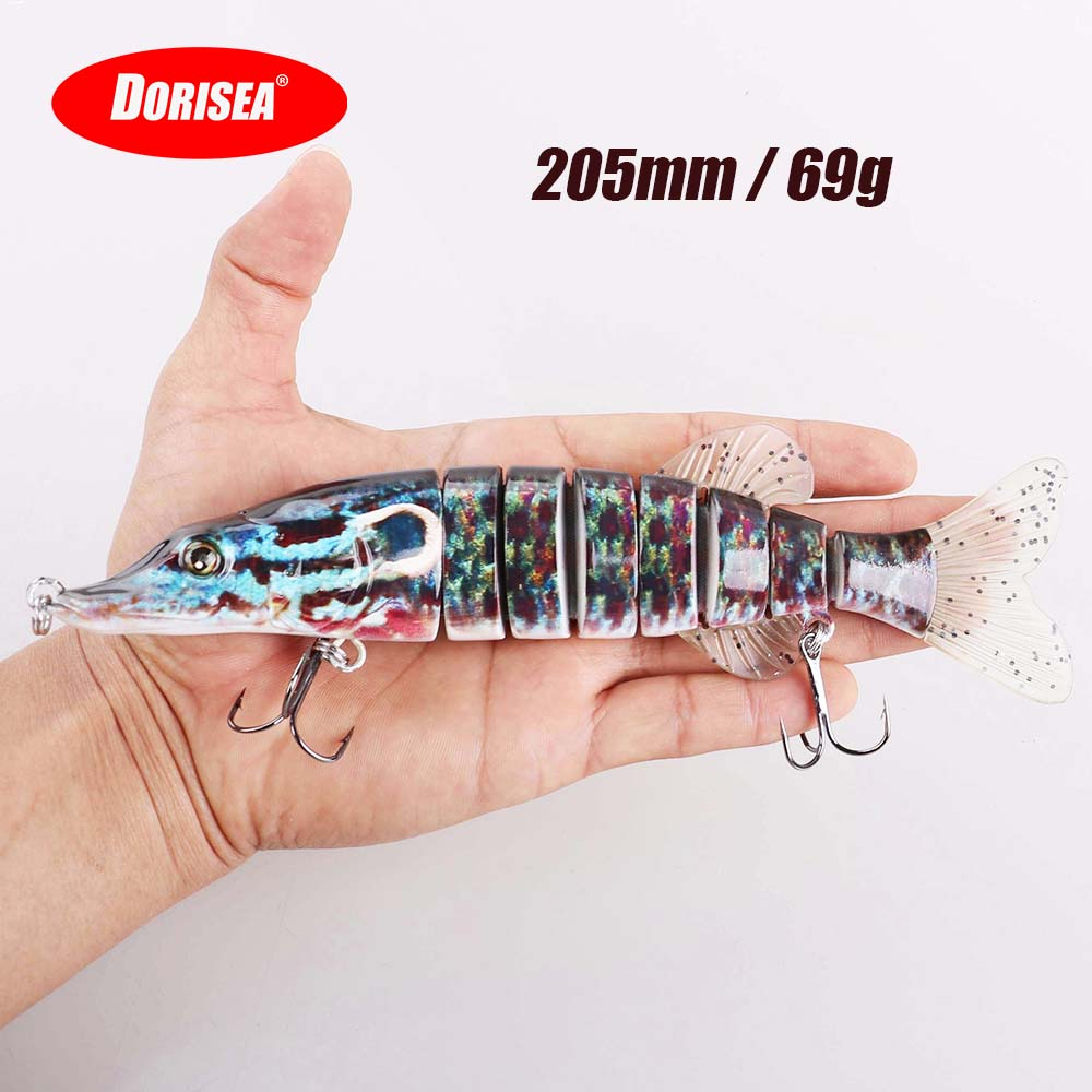 Fishing tool 200mm 75g 3D Eyes Multi Jointed Fishing Lures hard plastic Pike Fishing Lure Crank Bait Swimbait Floating Wobbler