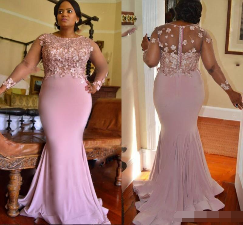 Lilac Color Plus Size Bridesmaid Dresses For Wedding Appliques Beads Long Sleeves Mermaid Maid Of Honor Long Prom Party dress(China)