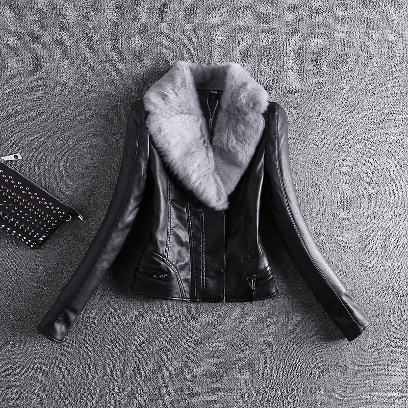 2018 Women   Leather   Jacket 2xl 3xl Grey Rabbit Hairy   Leather   Female Lamb Collar Really Slim Pu Locomotive Full Sleeve Jacket