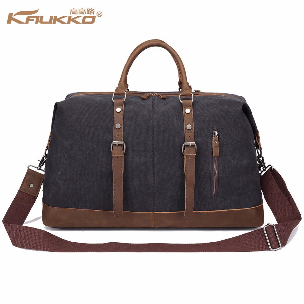 Original KAUKKO Canvas Leather Men Travel Bags Carry on Luggage Bags Men Duffel Bags Travel Tote