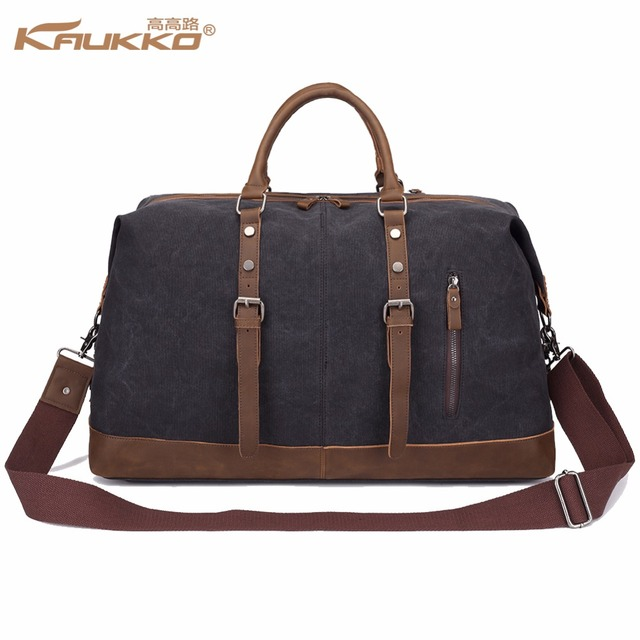 045f760a03 Original KAUKKO Canvas Leather Men Travel Bags Carry on Luggage Bags Men Duffel  Bags Travel Tote Large Weekend Bag Overnight