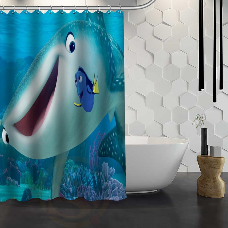 Hot Sale Custom Finding Nemo Shower Curtain Waterproof Fabric For Bathroom FY1 17 In Curtains From Home Garden On Aliexpress