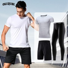 Men Sportswear Black Red Gray White Blue Tracksuit Elastic Soft Workout Clothes Man Jogger Gym Training Fitness Running Set Male