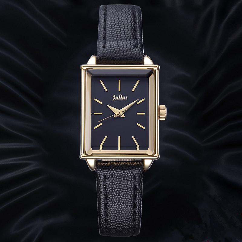 Prix pour De luxe JULIUS Véritable en cuir Femmes de Marque montres Dames De Mode Rectangle Quartz-montre Horloge Femmes Relojes Mujer 2016