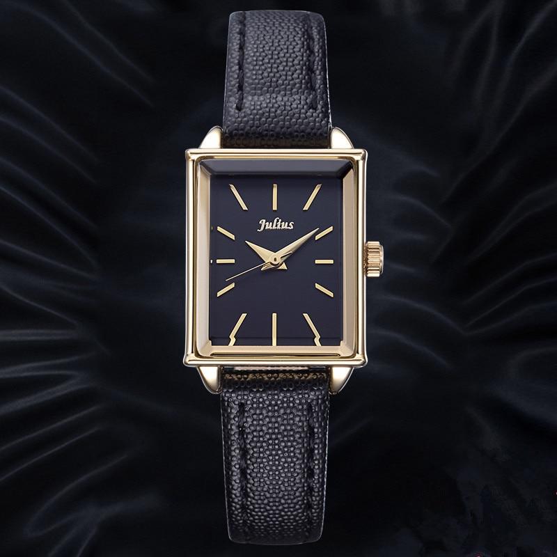 Luxury JULIUS Genuine leather Women's Brand Wrist watches Fashion Ladies Rectangle Quartz-watch Clock Women Relojes Mujer JA-787