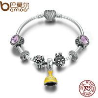 BAMOER Authentic 925 Sterling Silver Belle S Yellow Dress Eart Pink Crystal Clear CZ Cuff Bangles