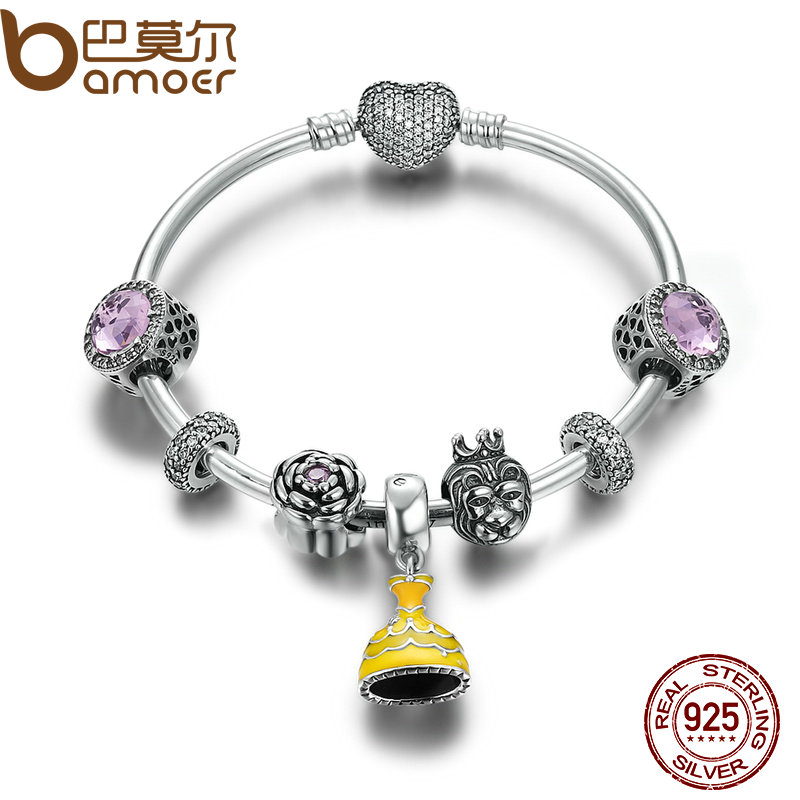 BAMOER Authentic 925 Sterling Silver Belle's Yellow Dress Beauty and the Beast Bangles & Bracelet DIY Silver Jewelry PSB008 браслет с брелоками bamoer 50