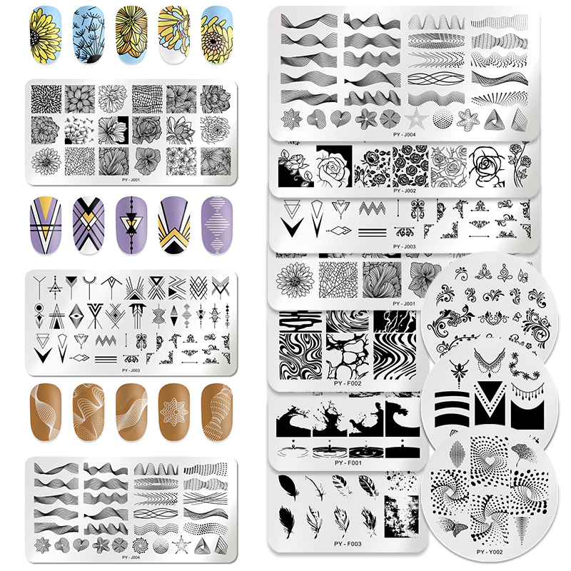 3Pcs/Set PICT YOU Rectangle Nail Stamping Plates Geometric Stainless Steel Nail Image Stamp Tools Nail Stamping Template Kits