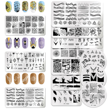 3Pcs/Set PICT YOU Rectangle Nail Stamping Plates Geometric Stainless Steel Image Stamp Tools Template Kits