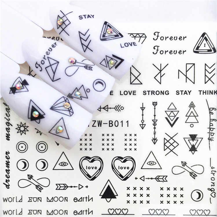 1 Pcs Tengkorak Halloween Tanaman Stiker Kuku Air Decals Wanita Putih Bunga Cat Butterfly Transfer Nail Art Dekorasi M2b8s