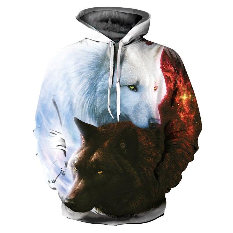 Headbook New Fashion Animals Print Hoodies Women/Men 3d Sweatshirts With Hat Print White And Black Wolf Hooded Hoodies YXQL272