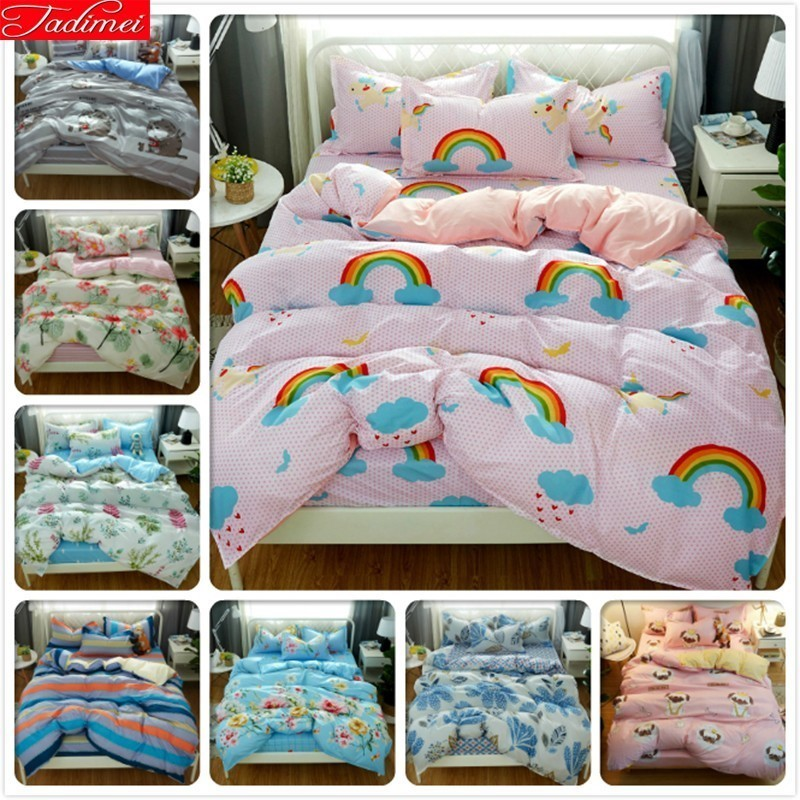 Colorful Pattern 3/4 Pcs Bedding Set Kids Child Bed Linen Soft Cotton Bedspreads Single Twin Full Double Super King Size 150x200Colorful Pattern 3/4 Pcs Bedding Set Kids Child Bed Linen Soft Cotton Bedspreads Single Twin Full Double Super King Size 150x200