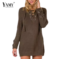 2016 Winter Lace Up Knitted Sweater Women Fashion Sexy V NECK Long Sleeve Elastic Waist Pullover