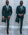 Two Button Dark Green Groom Tuxedos Mens Blazer Prom Business Dress Suits (Jacket+Pants+Tie) NO:768