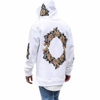 Autumn New Design Flower Print Hoodies Men Hip Hop Cool Mens Hooded Pullovers Men S Sweatershirt