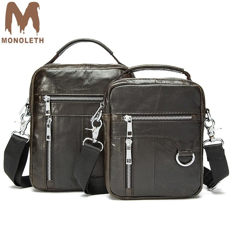MONOLETH 100% Vintage Genuine Leather Shoulder Bag Mini Messenger Bag Designer Brand Business Small Crossbody Bag For Male
